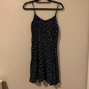 Navy Blue Floral Dress